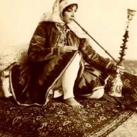 Woman smoking a shisha