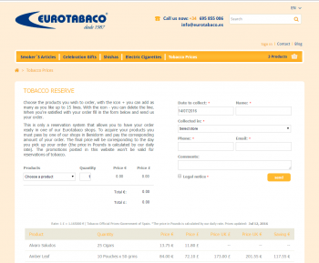 Tobacco prices in Spain
